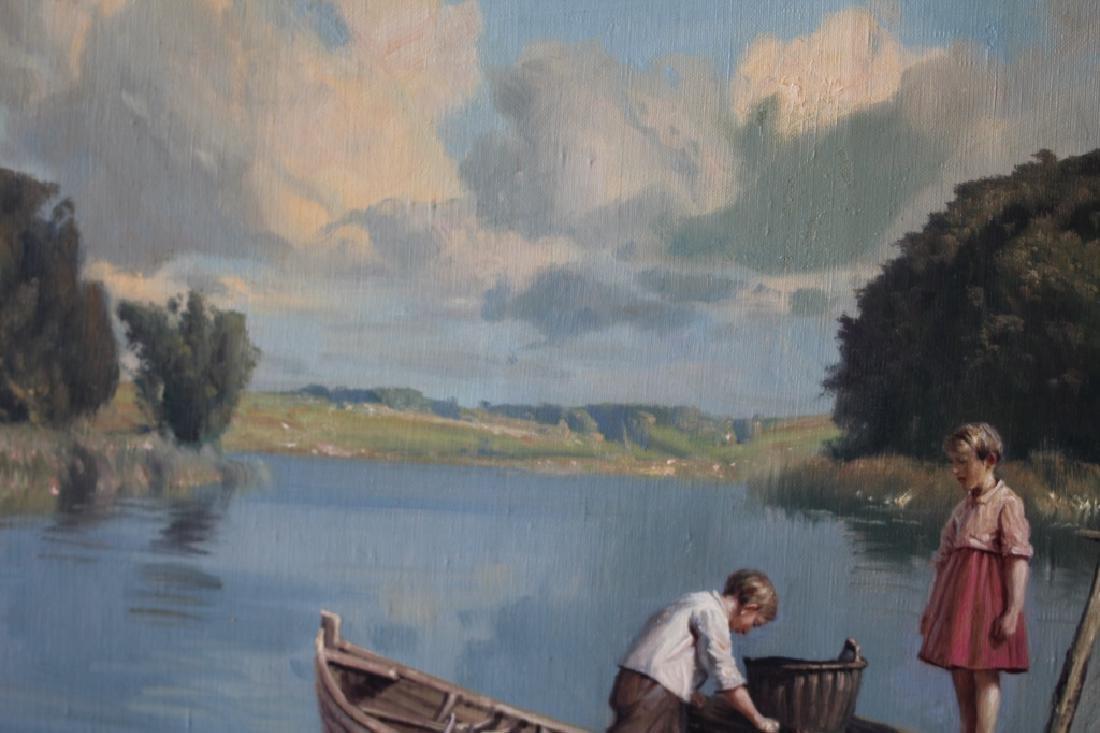 Niels Walseth Boy & Girl on dock Oil on Canvas - 4