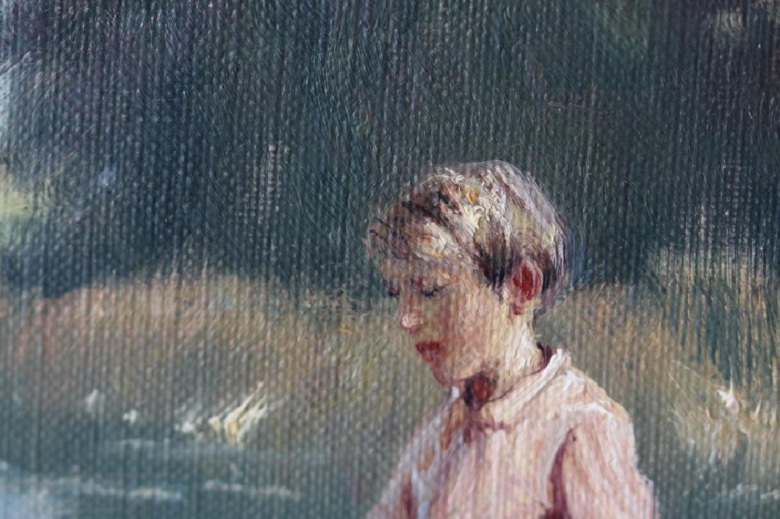 Niels Walseth Boy & Girl on dock Oil on Canvas - 6