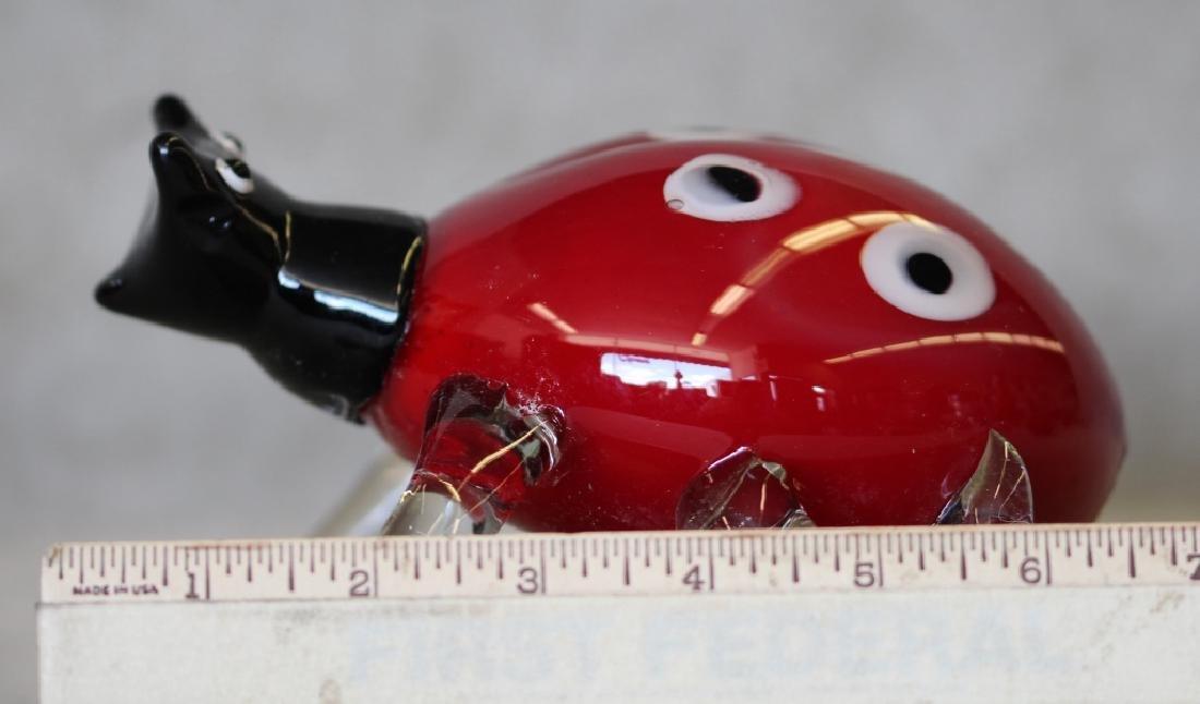 Hand-blown Murano Art Glass Lady Bug - 5