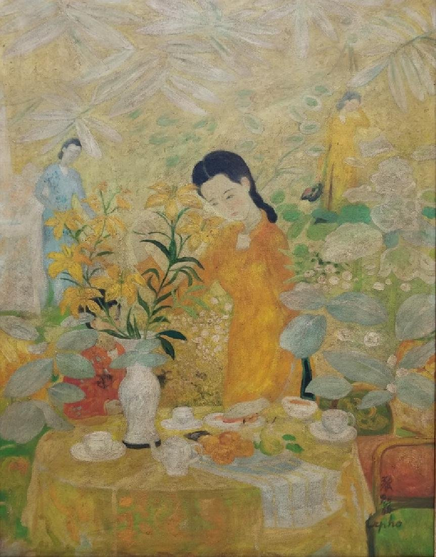 Oil on Canvas Garden Painting Signed Le Pho