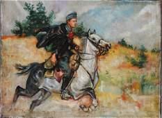 W. Kossak Rochack on Horseback Oil on Canvas