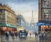 (Attrib.) J. Gaston Parisian Street Scene A/C