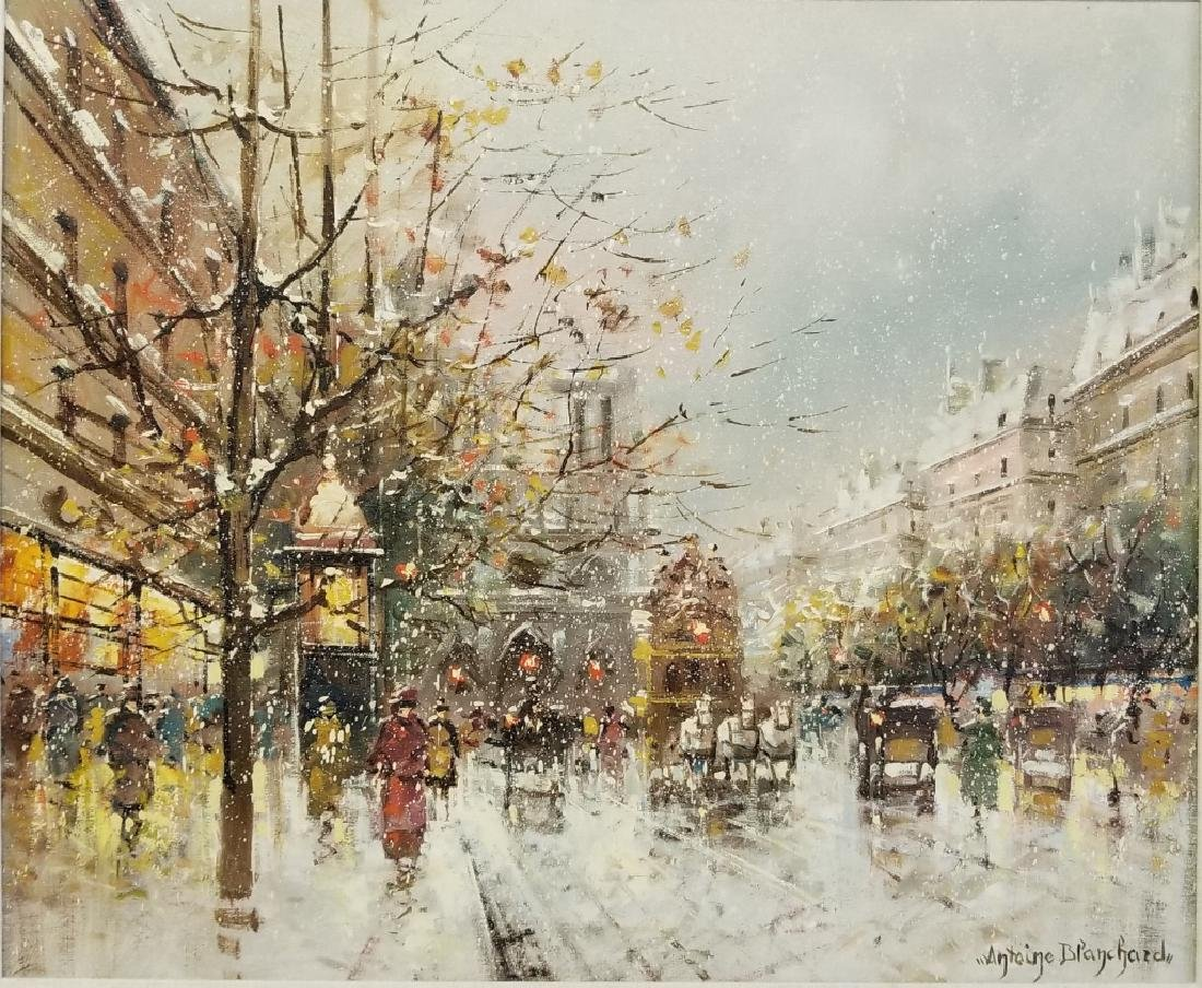 Antoine Blanchard Parisian Winter Street Scene
