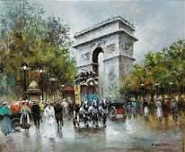 J. Gaston Parisian Street Scene A/C