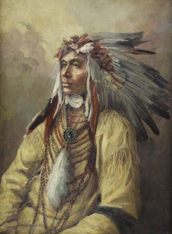 Joseph Henry Sharp O/C Portrait of Native American