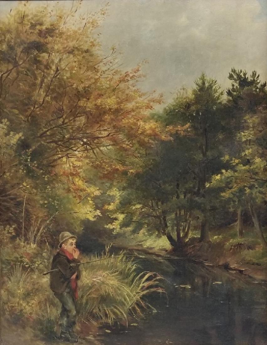 1878 Ralph Hedley O/C Landscape w/ a Boy Fishing