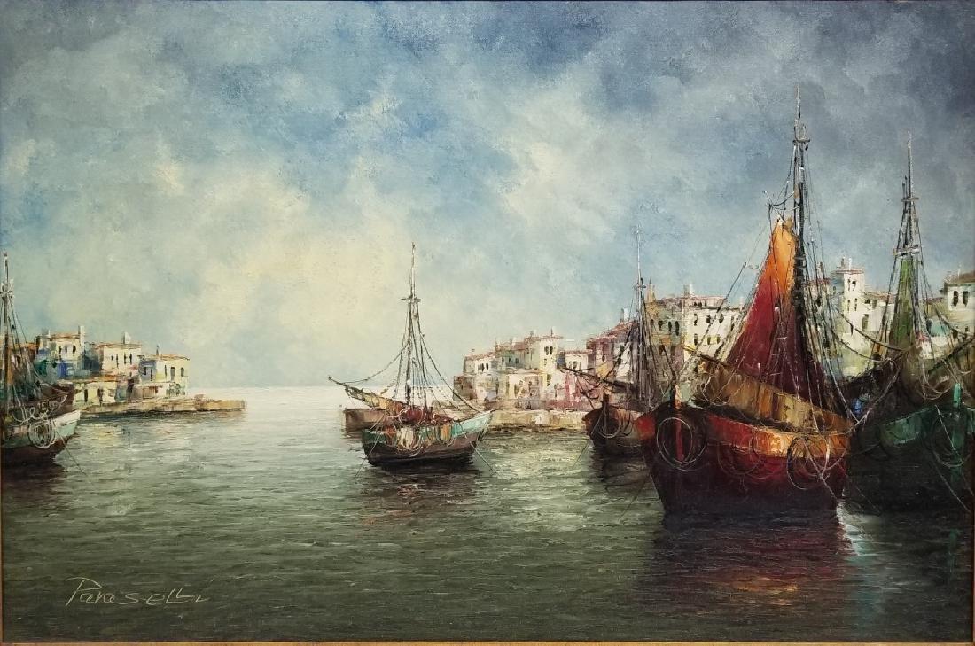 Angelo Paraselli O/C Italian Coastal Scene w/ Boat