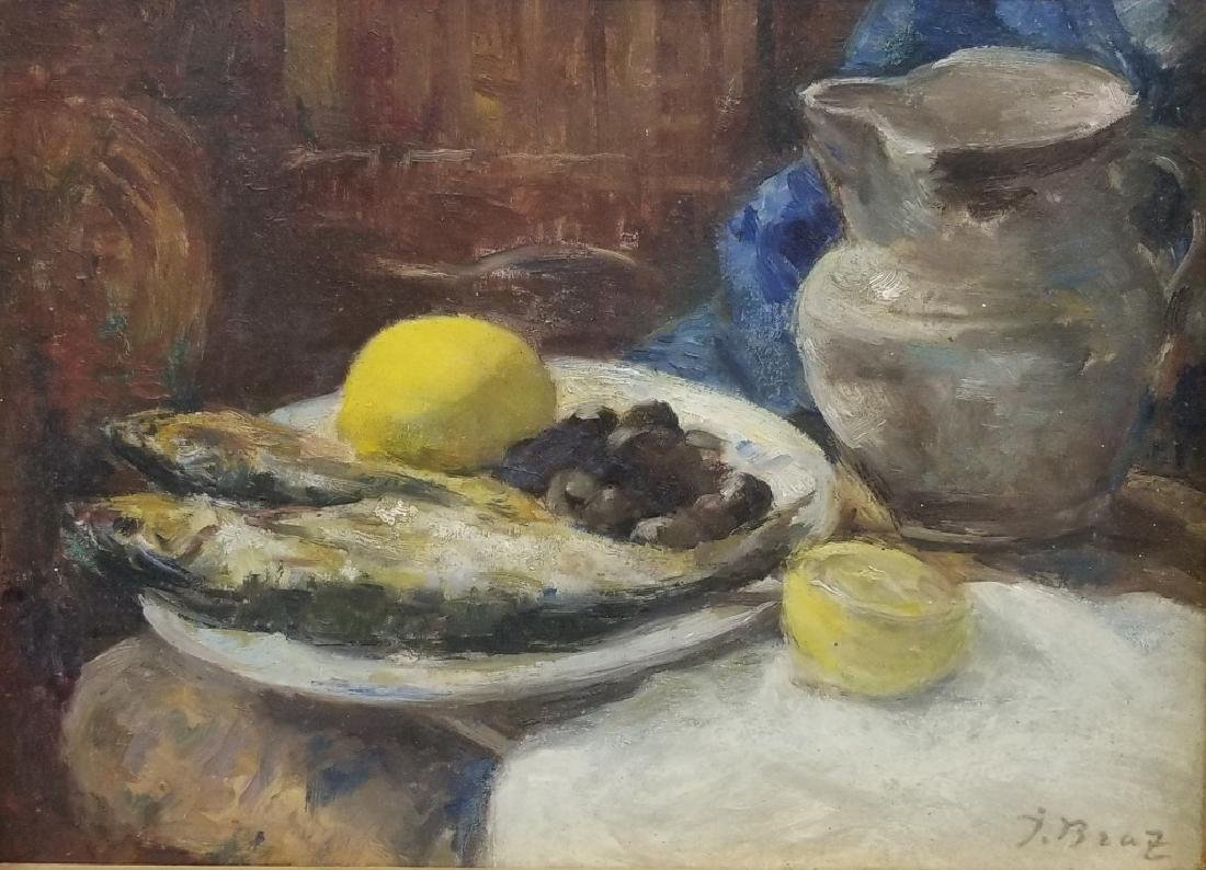 Osip Emmanuilovich Braz O/B Still-life w/ Fish