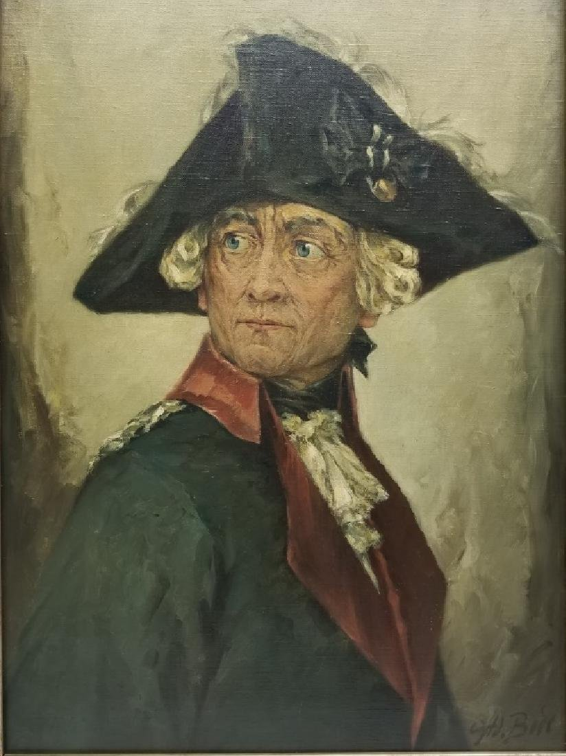 Adolf Bude O/C Portrait of Frederick the Great