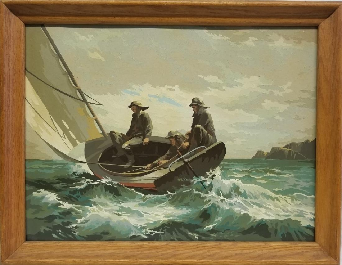 Vintage Paint By Numbers Sailboat in Rough Seas