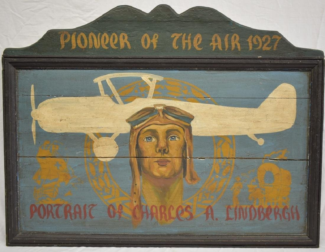 Early Americana Lindbergh Aviation Wooden Sign