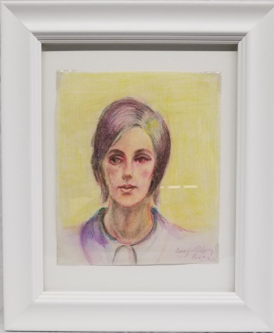 Beauford Delaney Crayon on Paper Portrait