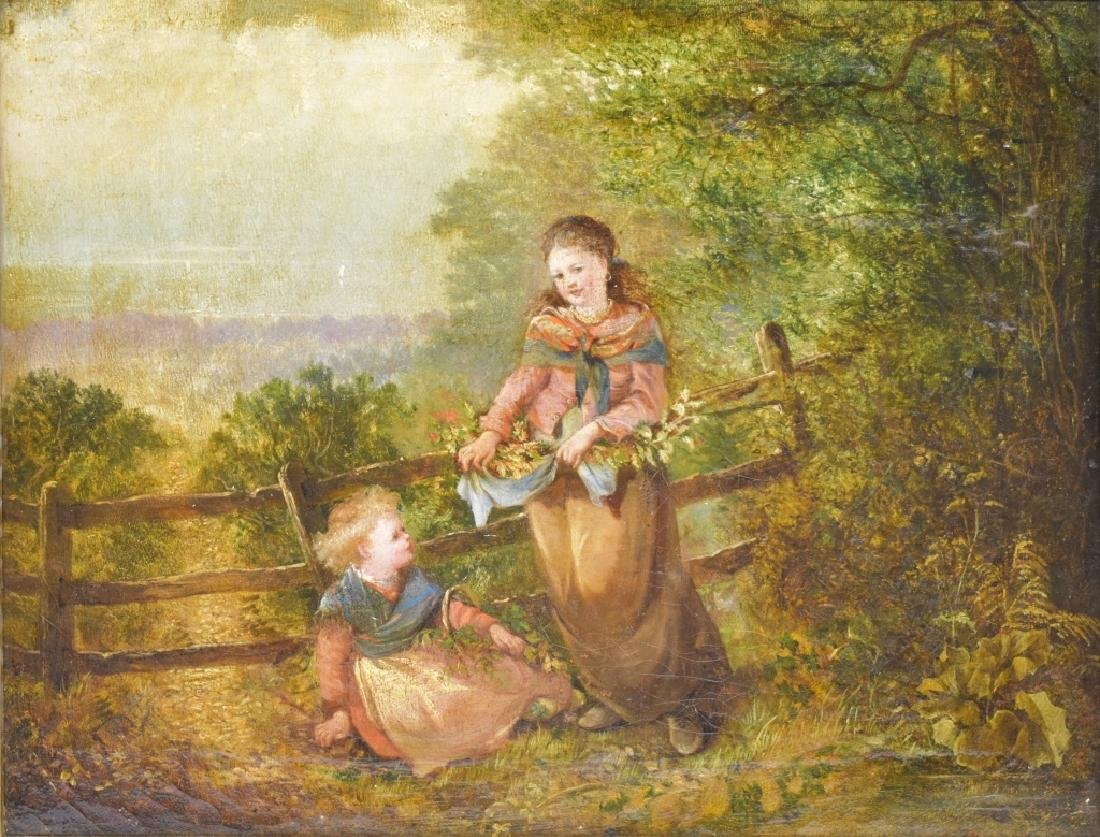 Antique Oil on Canvas Genre Scene with Children