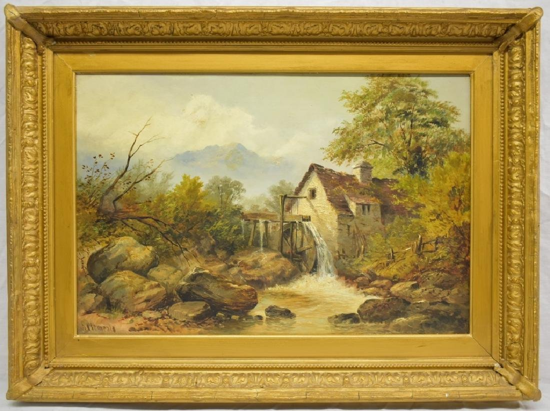H. Clements O/C Landscape with Mountains and Mill