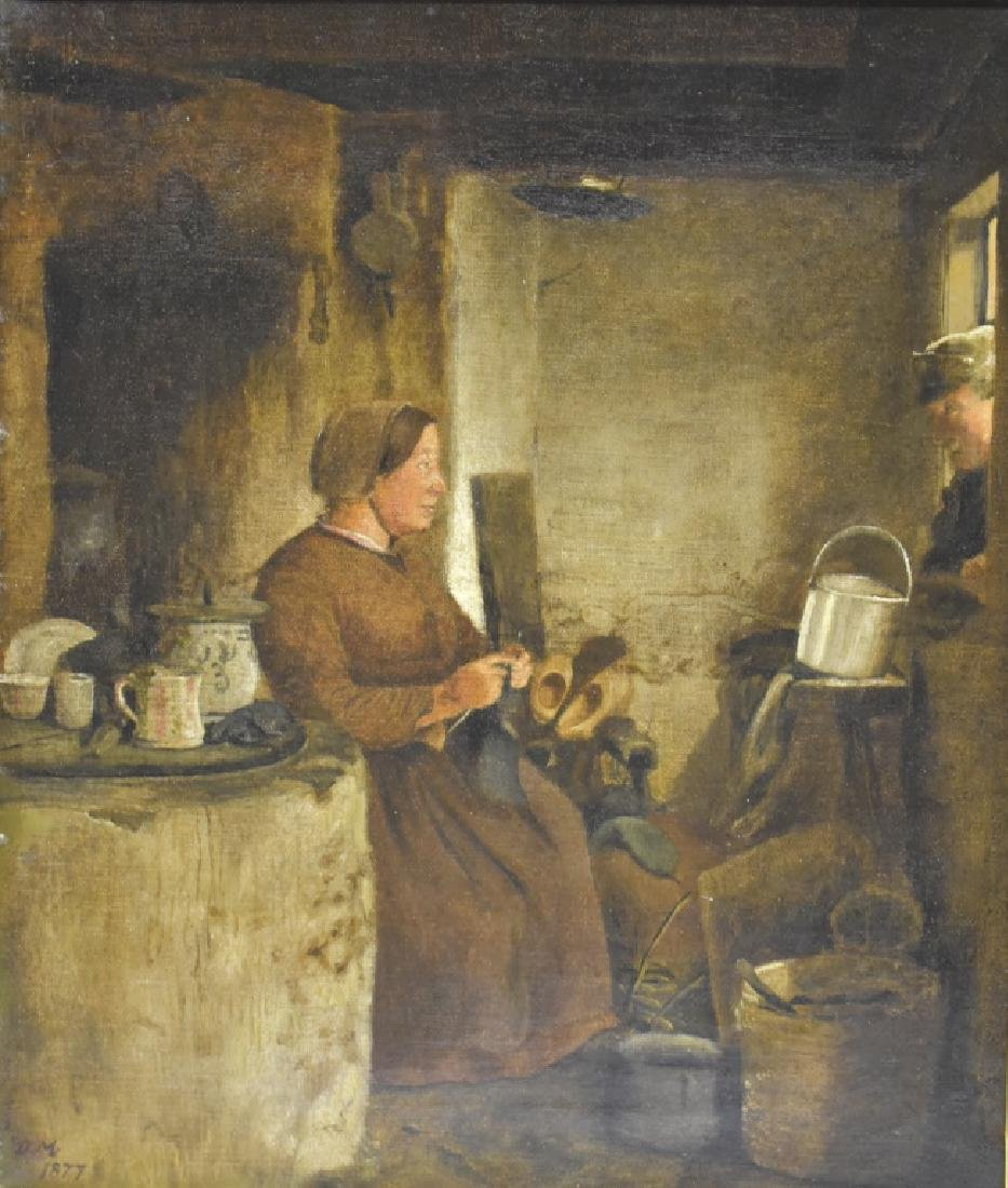 David Monies O/C Dutch Interior Scene