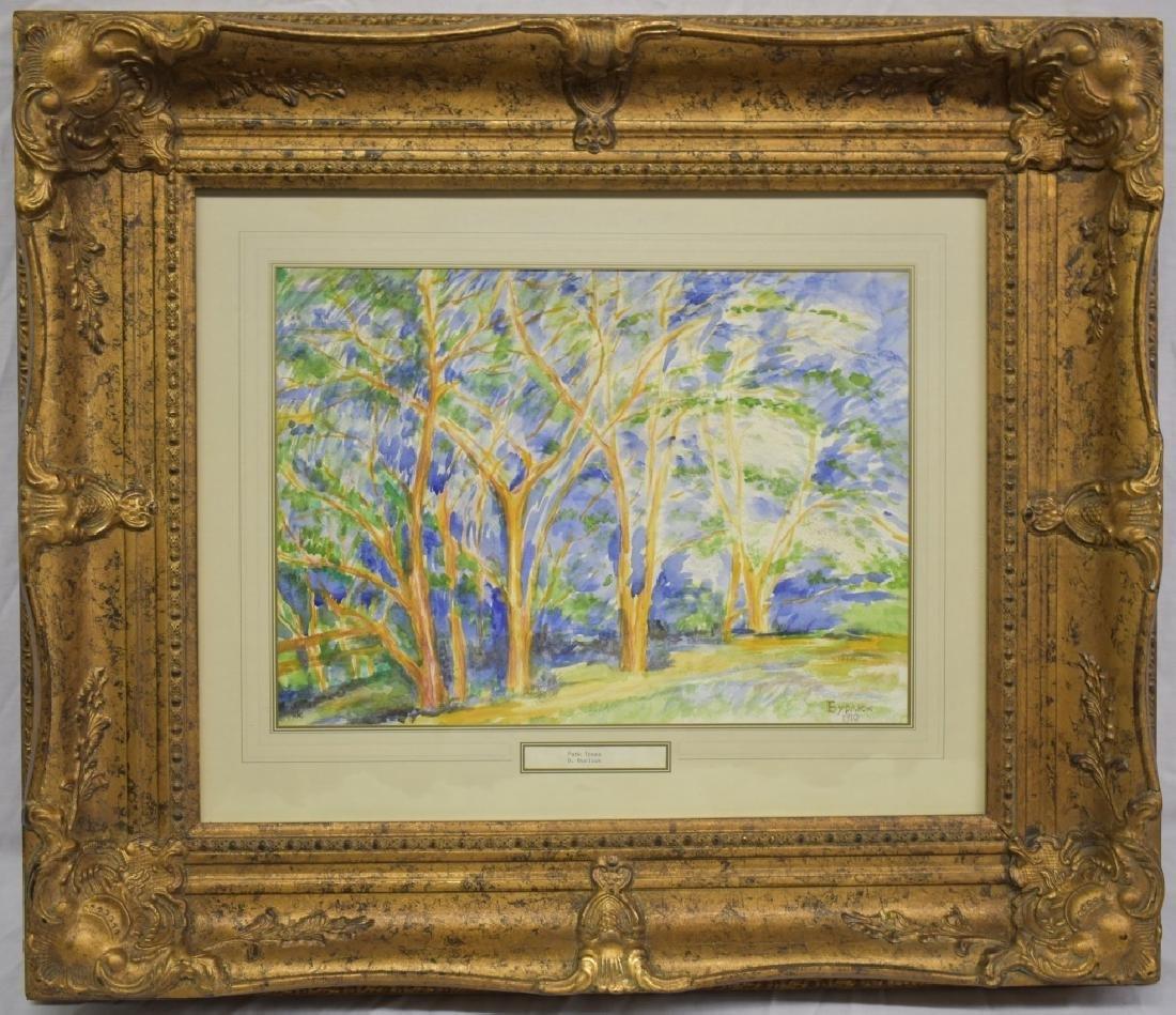 1910 David Burliuk Watercolor - Park Trees