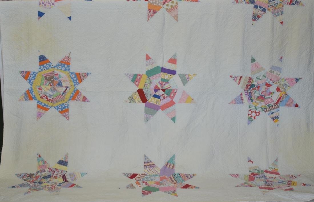 1939 Hand Sewn Eight Point Star Pattern Quilt