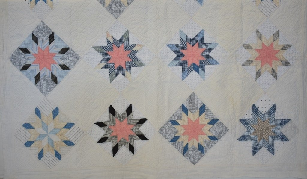 1930's Hand Sewn Twin Size Star Variation Quilt