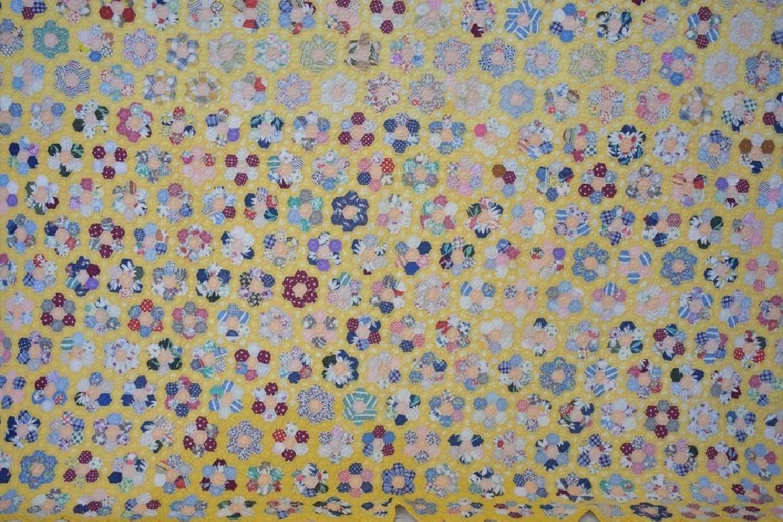 1940's Hand Sewn Twin Size Flower Garden Quilt