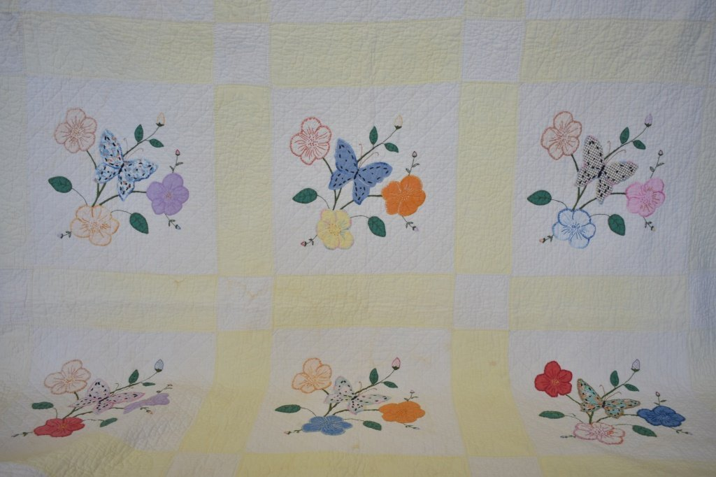 Early 1940's Hand Sewn Butterfly Bouquet Quilt