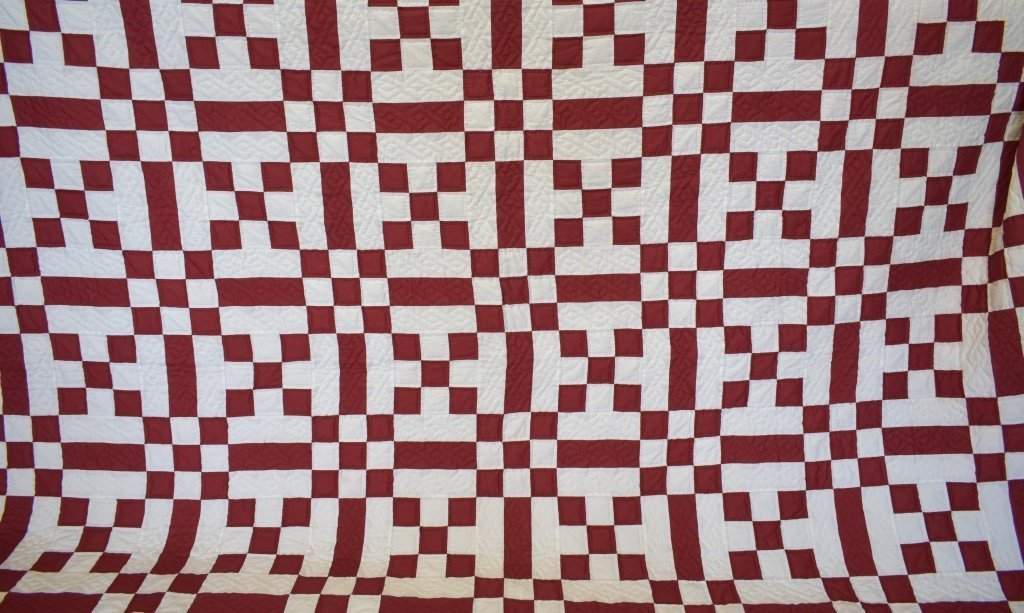 1980's Hand Sewn Block Pattern Quilt