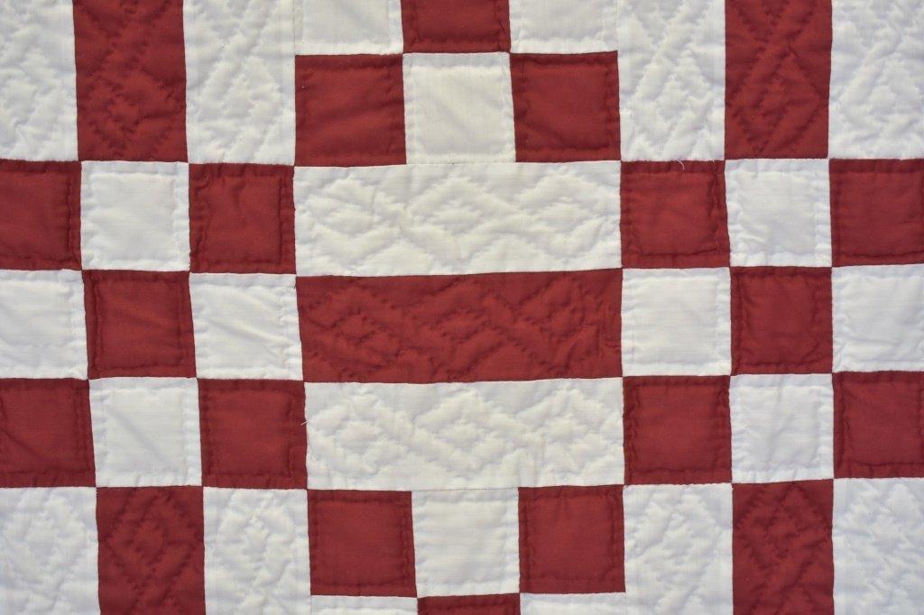 1980's Hand Sewn Block Pattern Quilt - 5