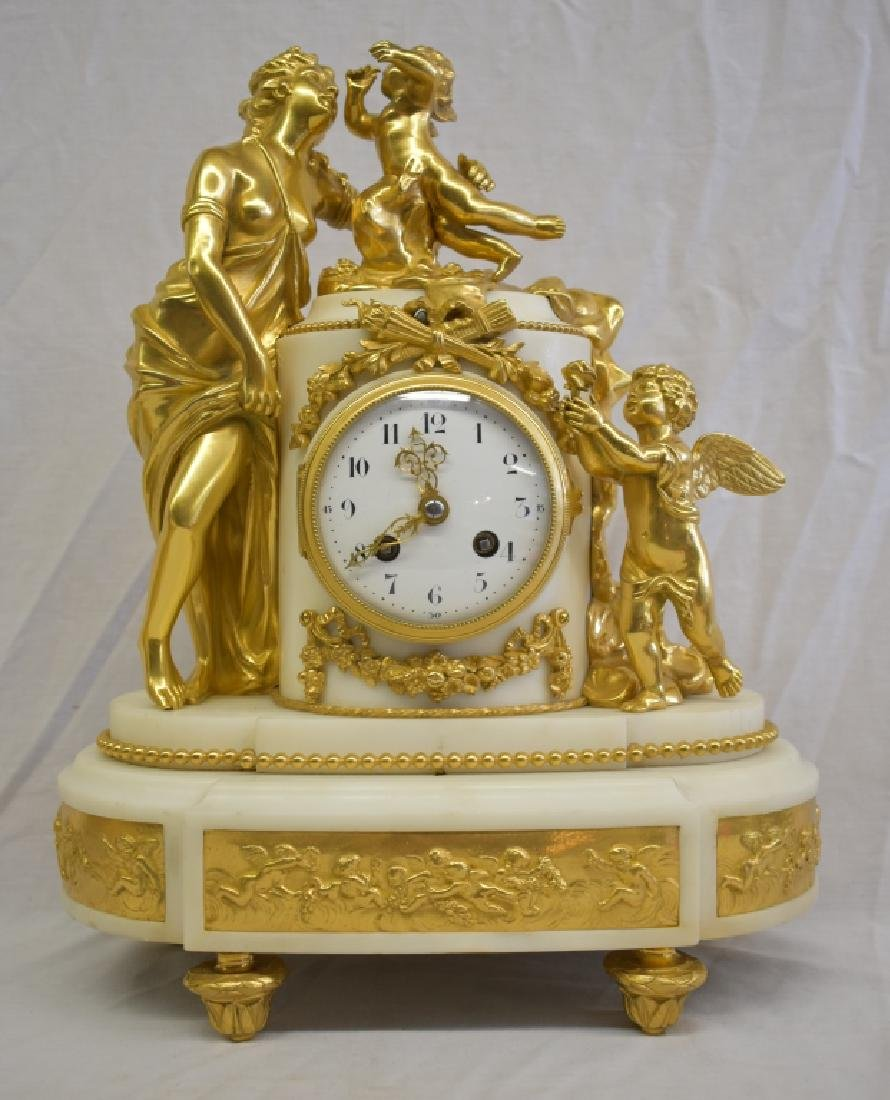 Antique French Marble & Ormolu Figural Clock