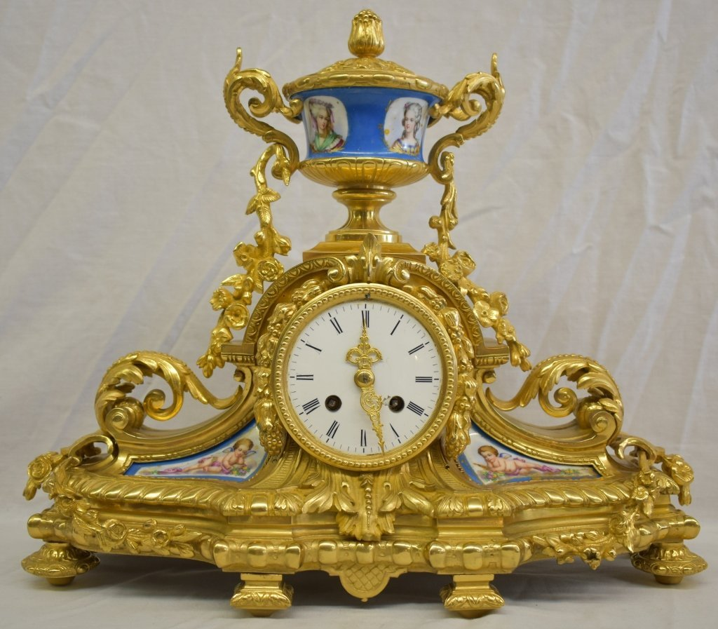 Antique French Ormolu & Porcelain Panel Clock