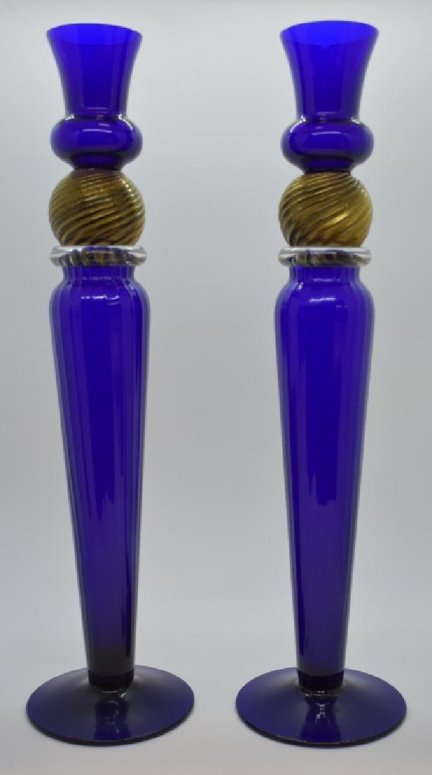 Pair of Artist Signed Cobalt Glass Candlesticks