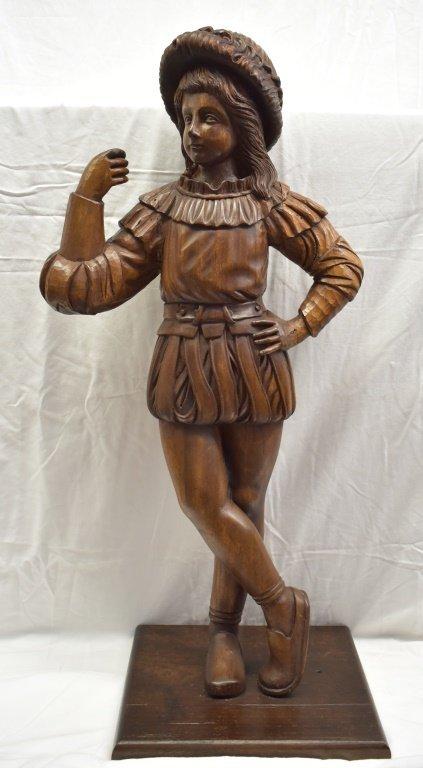 Vintage Solid Walnut Carved Renaissance Boy Statue