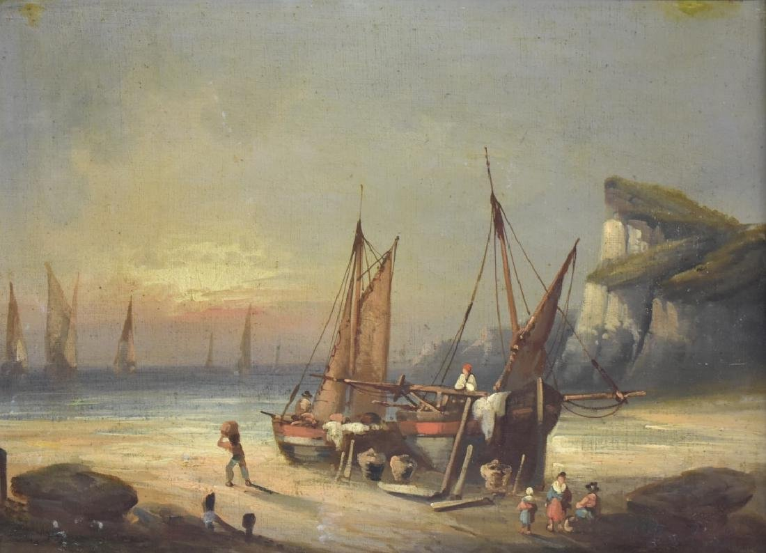 Edouard Paillet Seascape w/ Boats O/C