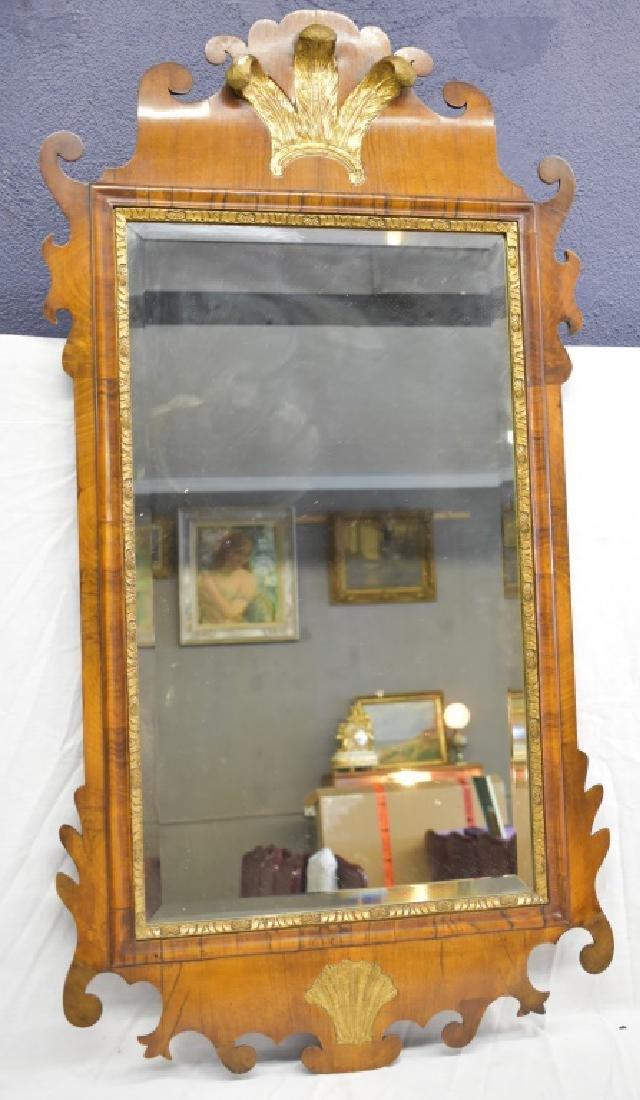 ca. 1720 Queen Anne Carved Walnut Gilt Mirror