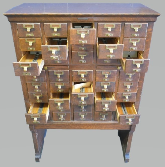 Antique Library Bureau SoleMakers Card Cabinet - 2