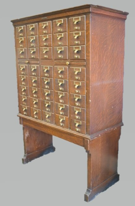 Antique Library Bureau SoleMakers Card Cabinet - 5