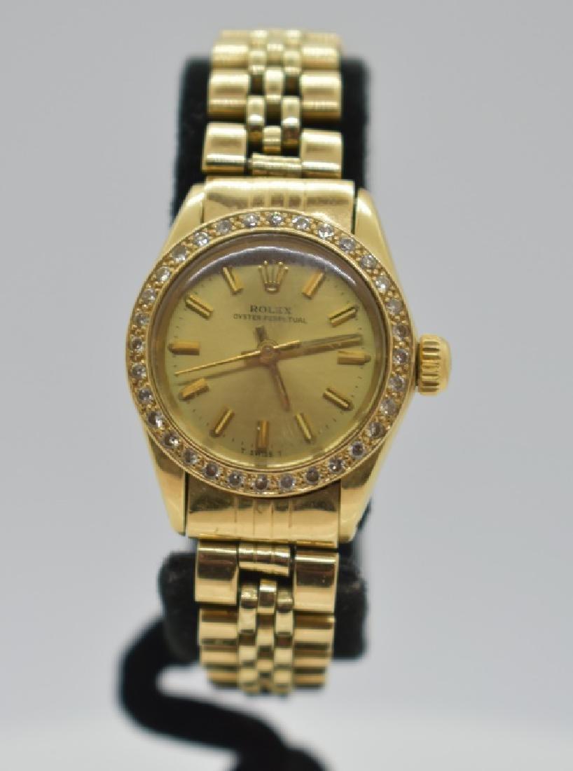 Lady's 14k Gold & Diamond Rolex Wrist Watch