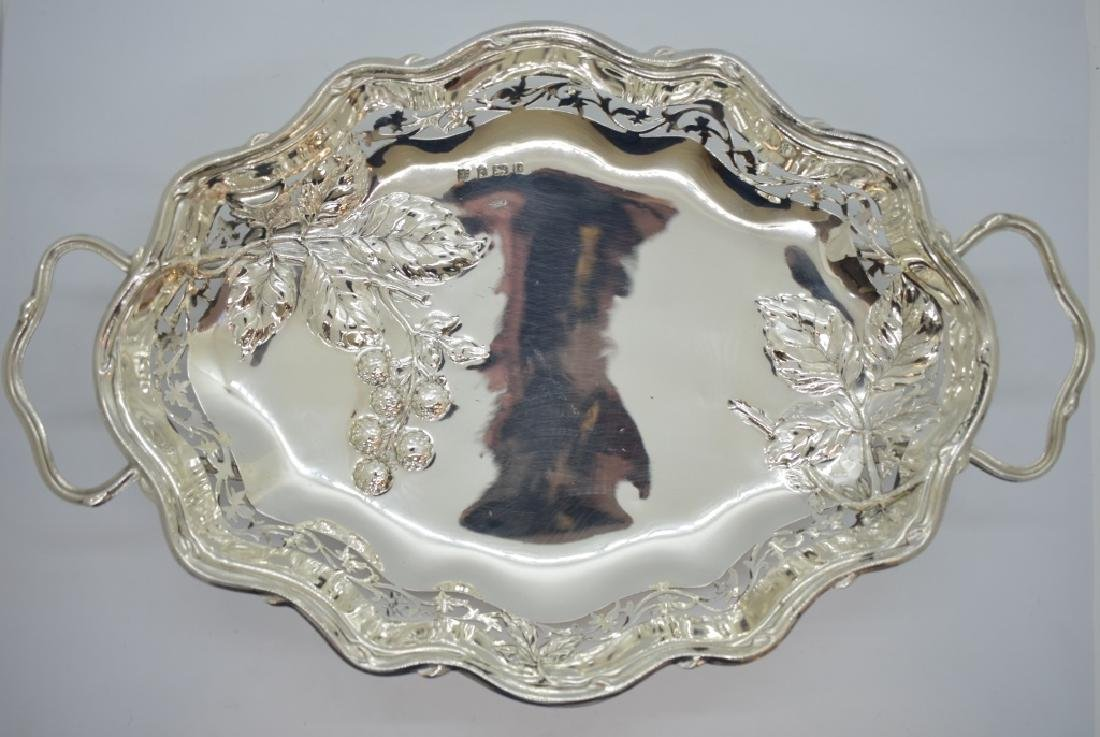 English Silver Serving Plate w/ Raspberry Design