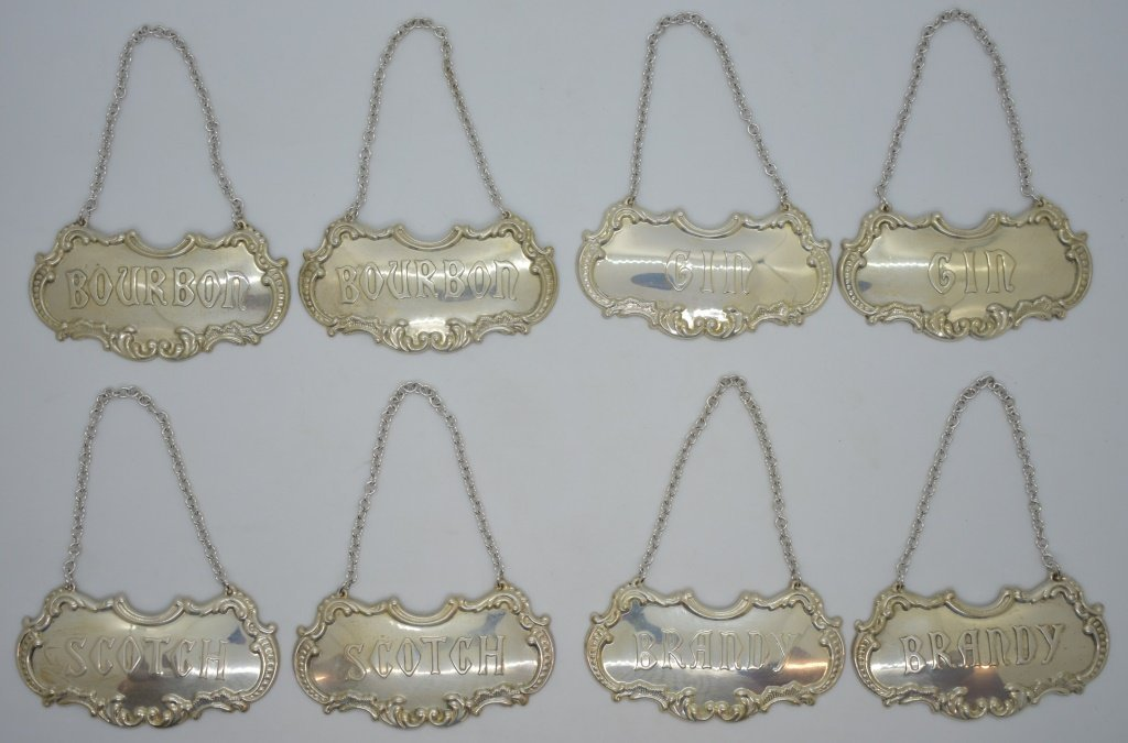 8 pcs. Gorham Sterling Liquor Decanter Tags