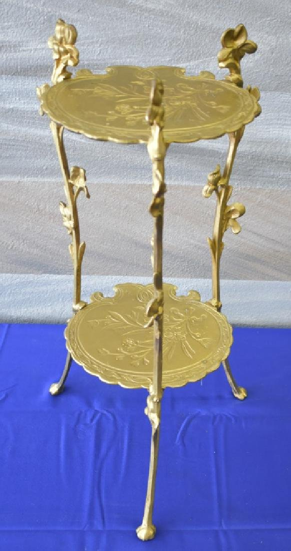 Antique Cast Brass Gilt Tripod Side Table - 2