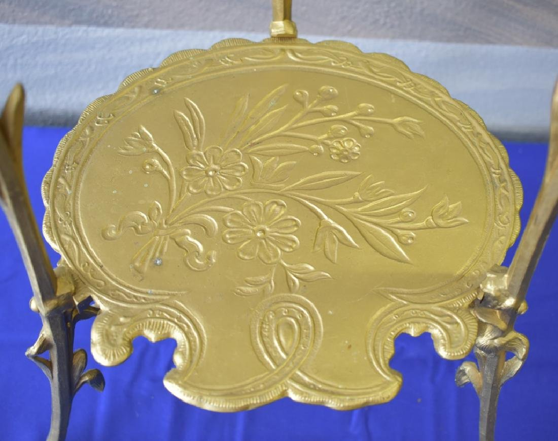 Antique Cast Brass Gilt Tripod Side Table - 9