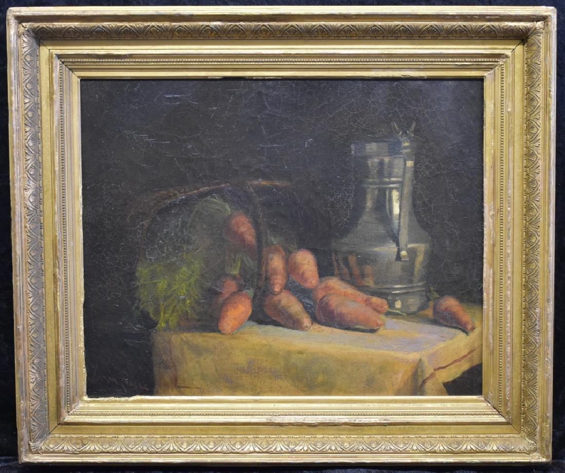 William Merritt Chase Still Life of Carrots O/B