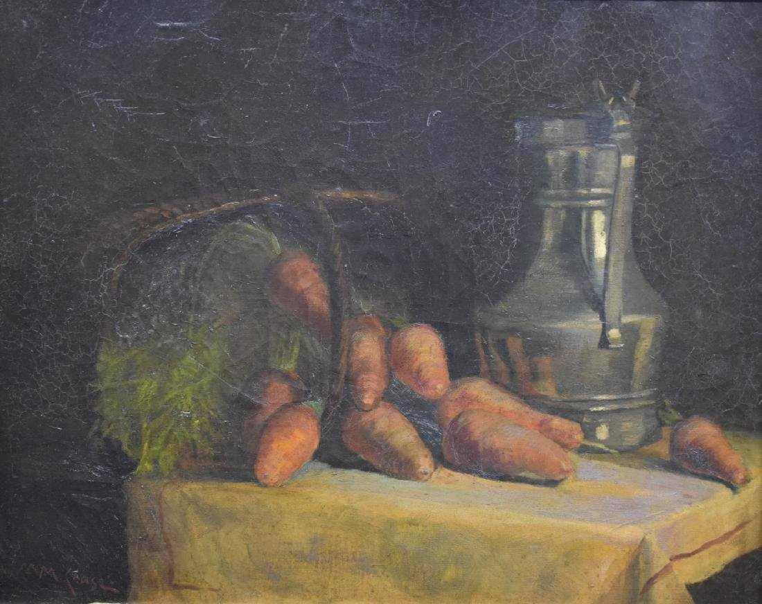 William Merritt Chase Still Life of Carrots O/B - 2