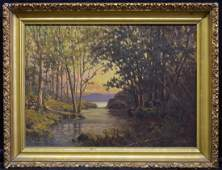 C Myron Clark Wooded Landscape OB