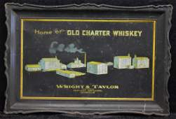 Old Charter Whiskey Pre-Prohibition Tin Litho Sign