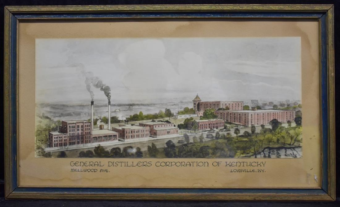 1936 George D. Lee Distillery Landscape Watercolor
