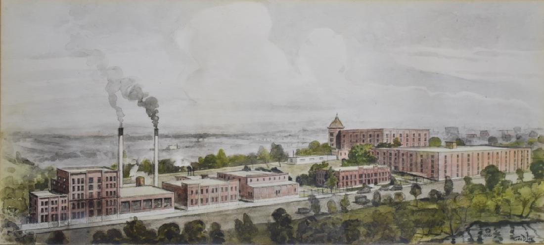 1936 George D. Lee Distillery Landscape Watercolor - 2