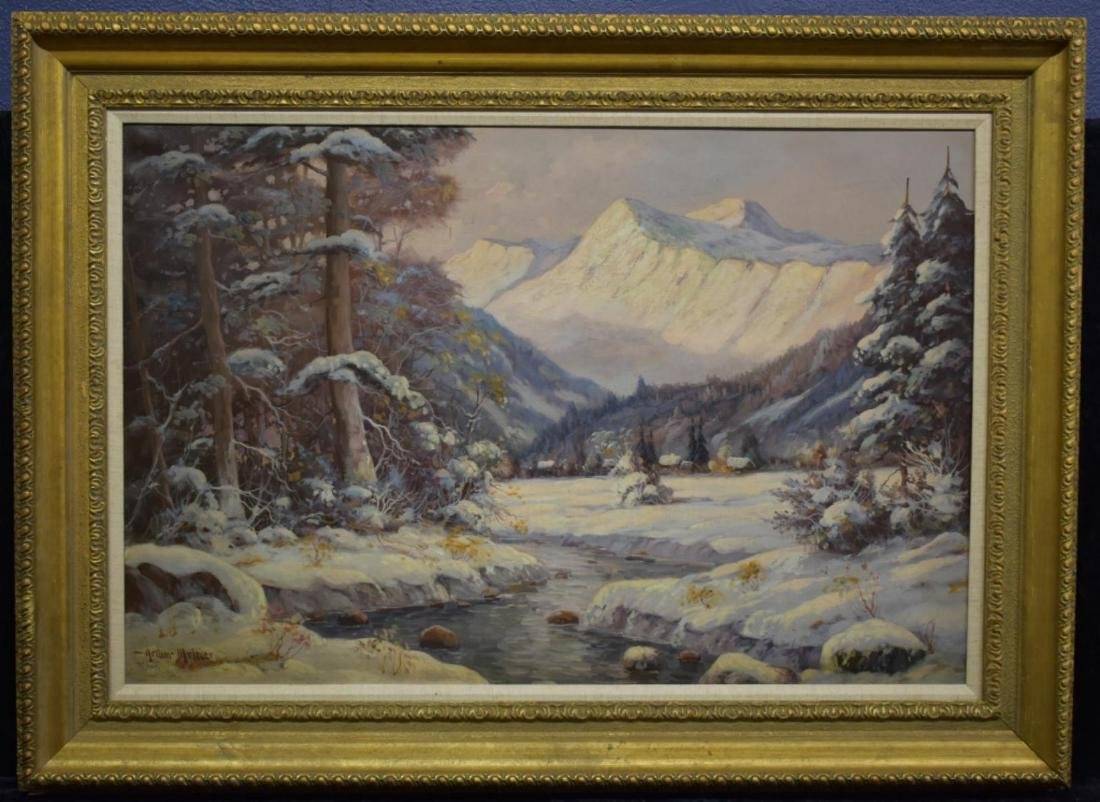 Arthur Meltzer Winter Mountain Landscape O/C