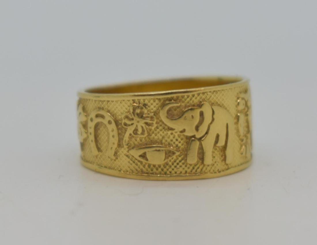 14k Gold Good Luck Band Ring