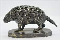 Antique Silver Plate Porcupine Toothpick Holder