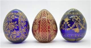 3 pcs Russian Fabergestyle Cut Glass Eggs