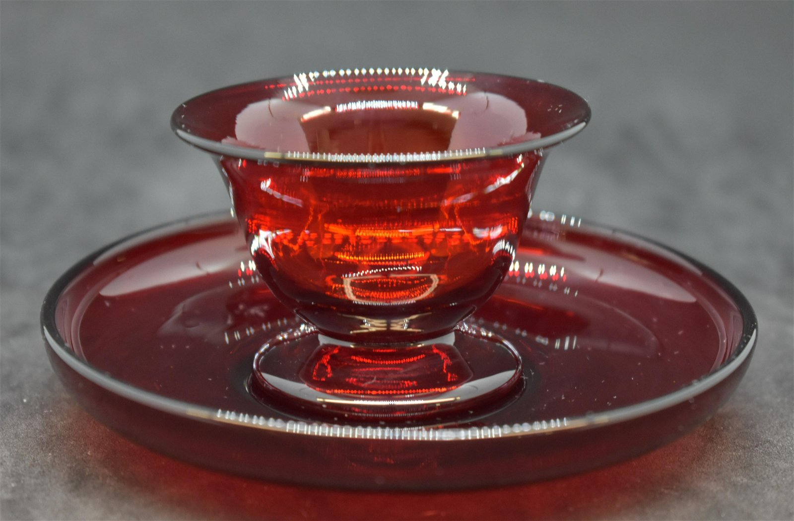 Steuben Ruby Red Glass Cup and Saucer Set